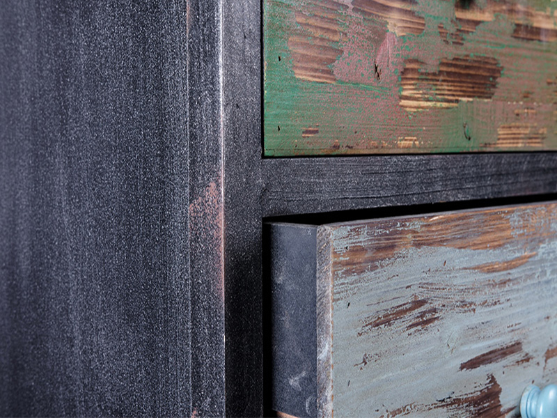 heavy distressed antique finishing drawers